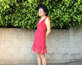 Yoana Baraschi, pink silk, A-line dress w/flower ruffle detail