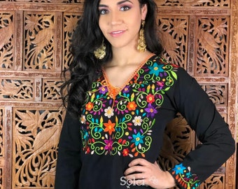 fe71a2818ad9b7 Long Sleeve Blouse with Decorated Flower Collar. Floral Embroidered Mexican  Blouse. Hippie-Boho. Free Shipping