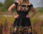 Mexican Hand Embroidered Dress. Mexican Floral Dress. Traditional Mexican Dress. Off the Shoulder Dress. 5 de Mayo Dress. Bridesmaid Dress.