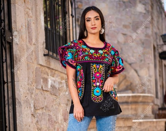 Hand Embroidered Multicolor Blouse. Floral Mexican Blouse. Mexican Traditional Blouse. Artisanal Mexican Blouse. Split Sleeve Top.