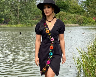Floral Plunge Dress. Mexican Wrap Dress. Hand Embroidered Dress. Babydoll Sleeve Dress. Silk Thread Embroidered Dress. Mexican Floral Dress.