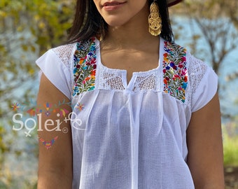 Details about  /Mexican Womans Tunic Blouse Hand Embroidered San Antonino Periwinkle Oaxaca Boho