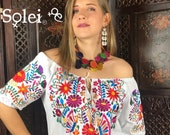 White Off the Shoulder Mexican Floral Blouse. Hand Embroidered Floral Design. Frida Kahlo Style. Made in Mexico.