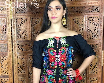 3571cce1b82 Black Floral Embroidered Dress. Frida Khalo Style. Mexican Dress . Off  Shoulders Mexican Dress.Free Shipping.