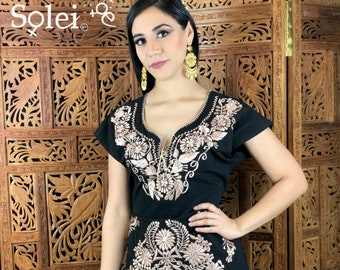 ac11e0cabf Mexican Gold Embroidered Dress. Beautiful Traditional Black Dress. Handmade  Mexican Dress.
