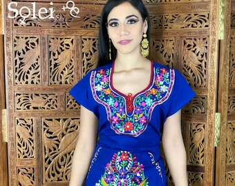 8b432dc6ed Mexican Colorful Embroidered Dress. Beautiful Traditional Blue Dress. Handmade  Mexican Dress.