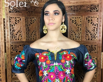 e7e82154efa Denim Floral Embroidered Mexican Blouse. Off the Shoulder Blouse. Frida  Kahlo Style. Handmade in Mexico.