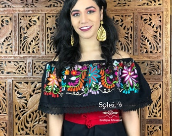 f47417a2de3 Floral Campesino Blouse. Colorful Mexican Blouse. Off the Shoulder Blouse.  Hippie-Boho. Belt Included. Free Shipping.