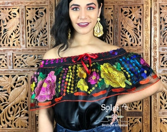 83fcf92c91f Hand Embroidered Chiapaneca Blouse. Colorful Mexican Blouse. Off the Shoulder  Blouse. Mexican Lace Blouse. Free Shipping.