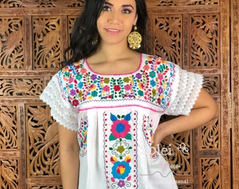00997872688fba Lace Sleeve Floral Blouse. Hand Embroidered Mexican Blouse. Frida khalo.  Hippie-Boho. Free Shipping