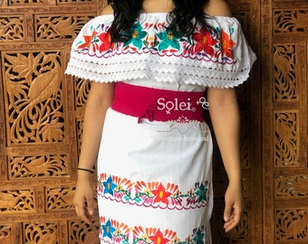 79c9c4452e6 Lace Trim Off the Shoulder Dress. Floral Embroidered Dress. Campesino Dress.  Mexican Dress. Free Shipping. Belt Included. SoleiEthnic. 5 out of ...