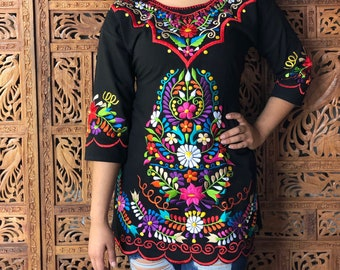 Mexican Blouse Zinacantan Blouse Fiesta Blouse Embroidered Mexican Blouse 2X PLUS SIZE Mexican Floral Embroidery Top