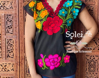 Handmade Blouse Mexican Embroidered  Blouse Beige Frida Huipil. Huipil with Colorful Hand Stitched Geometrical Detail on Chest