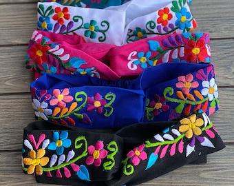 Mexican Embroidered Headband. Artisanal Head Elastic Band. Mexican Floral Embroidered HeadBand. Mexican Colorful HeadBand.
