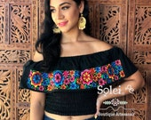 Daisy Crop Top. Mexican Floral Top. Campesino Off the Shoulder Blouse. 5 de Mayo Top. Mexican Crop Top. Embroidered Top.