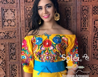 Off the Shoulder Blouse Denim Floral Embroidered Mexican Blouse Frida Kahlo Style Handmade in Mexico.