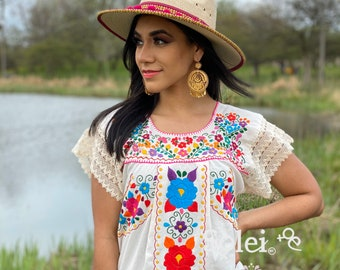 Mexican Dress Fiesta Dress Mexican Embroidered Dress Blusa Tradicional Bordada Mexican Peasant Blouse Short Sleeve Mexican Blouse
