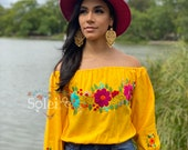 Long Sleeve Crop Top. Mexican Floral Top. Traditional Mexican Blouse. Mexican Crop Top. Hand Embroidered Top. Mexican Fashion Blouse.