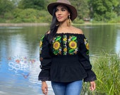 Mexican Floral Blouse. Traditional Mexican Top. Artisanal Mexican Blouse. Sunflower Embroidered Top. Ethnic Blouse. Floral Peplum Top.