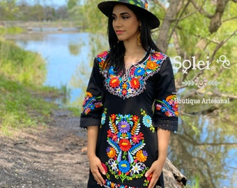 Mexican Floral Halter Dress Artisanal Mexican Dress Authentic Mexican Dress Sunflower Embroidered Dress Mexican Fiesta Boho-Hippie.