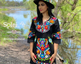 Mexican Kimono Dress. Mexican Floral Dress. Colorful Embroidered Dress. Bell Sleeve Dress. Formal Dress.Frida Kahlo Dress.Little Black Dress
