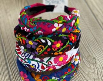 Mexican Embroidered Headband. Artisanal Braided Headband  . Mexican Floral Embroidered HeadBand. Mexican Colorful HeadBand.