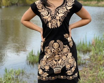 Mexican Gold Embroidered Dress. Mexican Traditional Black Dress. Handmade Mexican Dress. Mexican Bridesmaid Dress. Mexican Wedding.