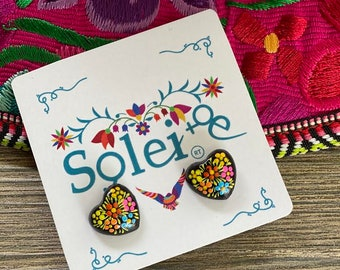 Hand Painted Artisanal Earrings. Heart Stud Earrings. Mexican Floral Earrings. Colorful Mexican Earrings. Mexican Jewelry. Gifts for her.