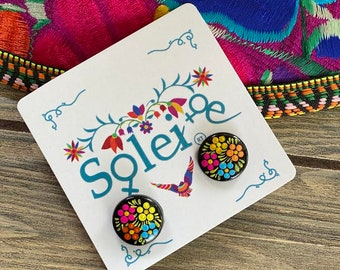 Hand Painted Artisanal Earrings. Round Stud Earrings. Mexican Floral Earrings. Mexican Earrings. Traditional Mexican Jewelry. Gifts for her.