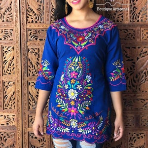 Hippie-Boho Floral Embroidered Mexican Blouse Colorful Floral Mexican Blouse 34 Sleeve Blouse Traditional Mexican Top.