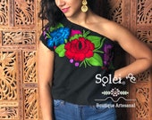 One Shoulder Embroidered Mexican Blouse. Floral Mexican Huipil. Colorful Floral Blouse. Frida khalo. Hippie-Boho. Mexican Fiesta.
