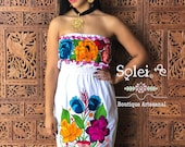 Floral Strapless Dress. Mexican Strapless Dress. Floral Embroidered Dress. Tube Top Dress. Traditional Mexican Dress. Belt Included.