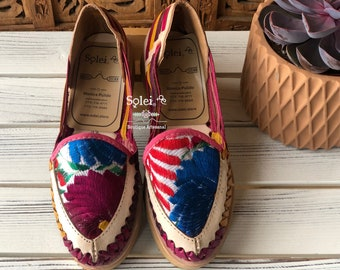 87298bd3c1e8 Artisanal Embroidered Flats. Mexican Leather Sandal. Cute summer sandal.  Free Shipping