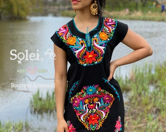 Mexican Kimono Dress. Floral Embroidered Dress. Mexican Traditional Dress. Floral Dress. Handmade Mexican Dress. Mexican Bridesmaid Dress.