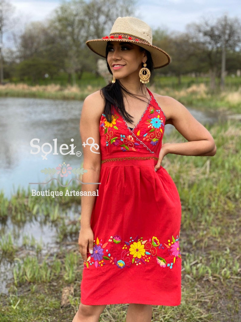 Colorful Mexican Dress. Mexican Dress Mexican Party Dress Mexican Bridesmaid Dress Hand Embroidered Mexican Dress Floral Halter Dress