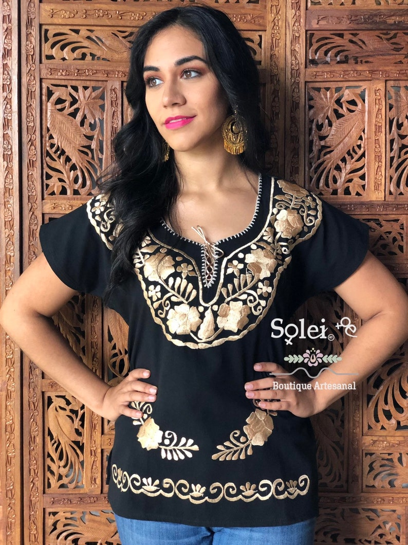 Mexican Golden Blouse Hippie-Boho Mexican Kimona Blouse Belt Included Formal Blouse Free Shipping Floral Embroidered Mexican Blouse