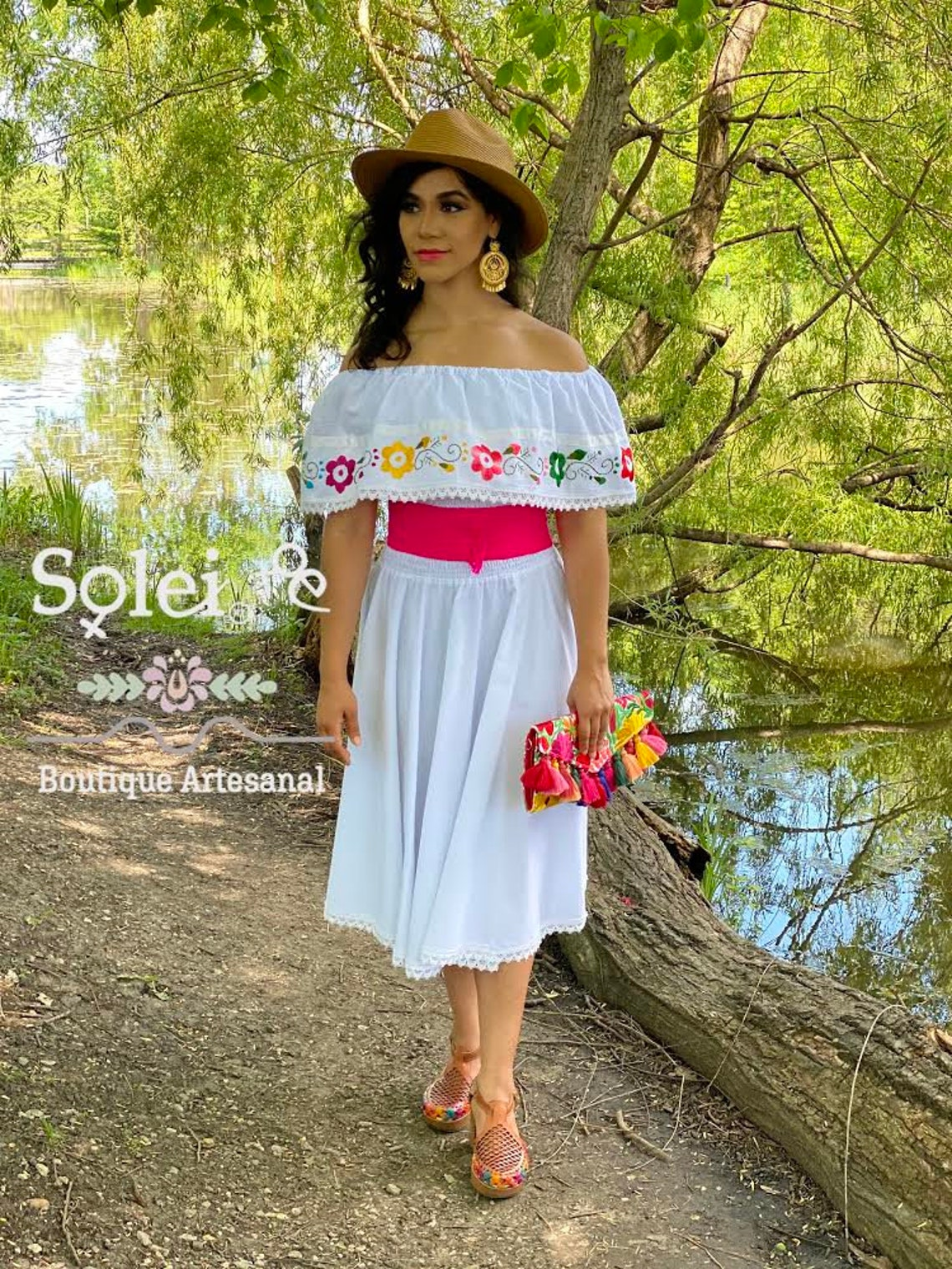 Floral Circle Dress. Hand Embroidered Mexican Dress. Off the