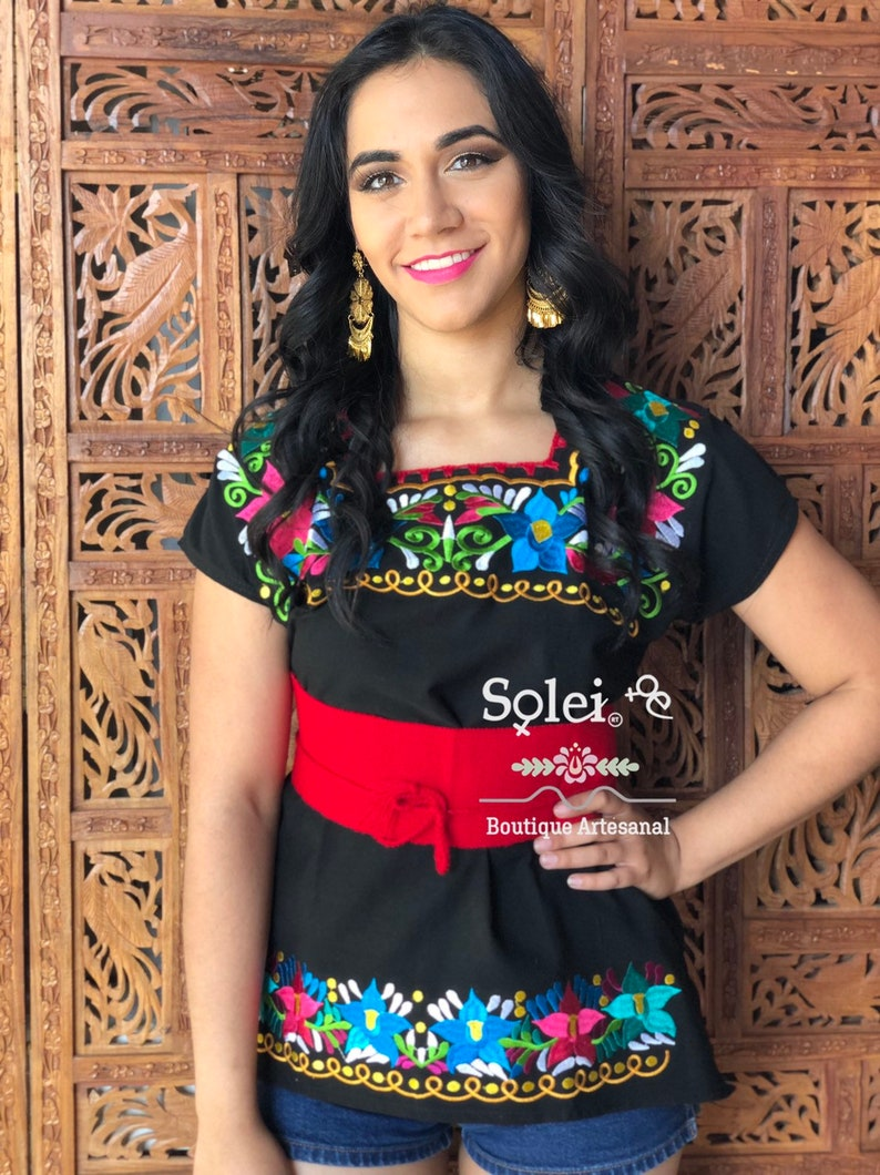 Free Shipping Belt Included Embroidered Floral Blouse Handmade Mexican Top