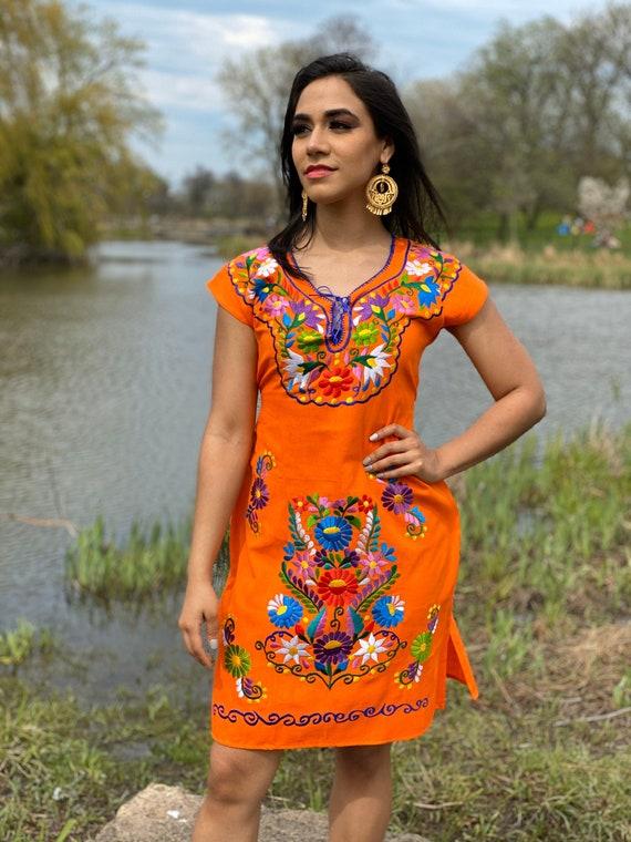 Frida Kahlo Dress Mexican Bridesmaid Wedding. Mexican Fiesta Dress Mexican Kimono Dress Floral Embroidered Dress Mexican Formal Dress