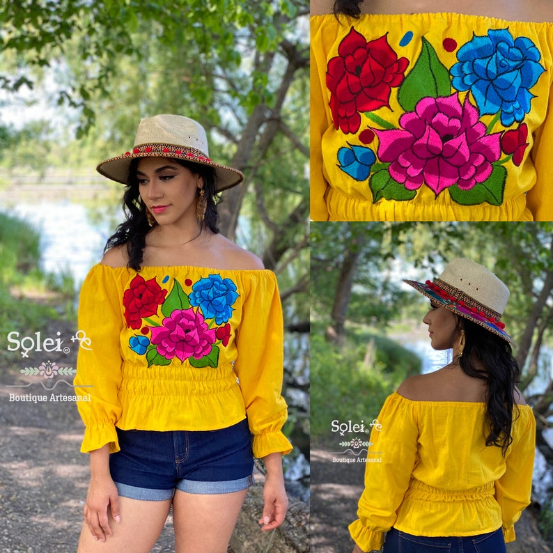 Hippie-Boho. Off the Shoulder Top Traditional Mexican Blouse Bell Sleeve Mexican Blouse Floral Embroidered Blouse Mexican Floral Blouse