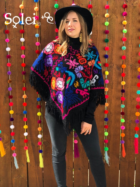Multicolor Poncho Southwestern Style. Hand Embroidered Mexican Poncho