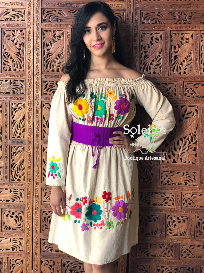 Off Shoulders Mexican Dress Hand Embroidered Dress Belt Included Free shipping