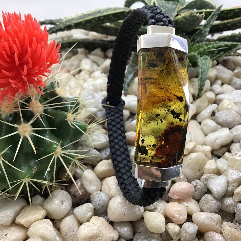 Handmade Amber Stone and Leather bracelet Mens Jewelry. Men/'s Bracelet