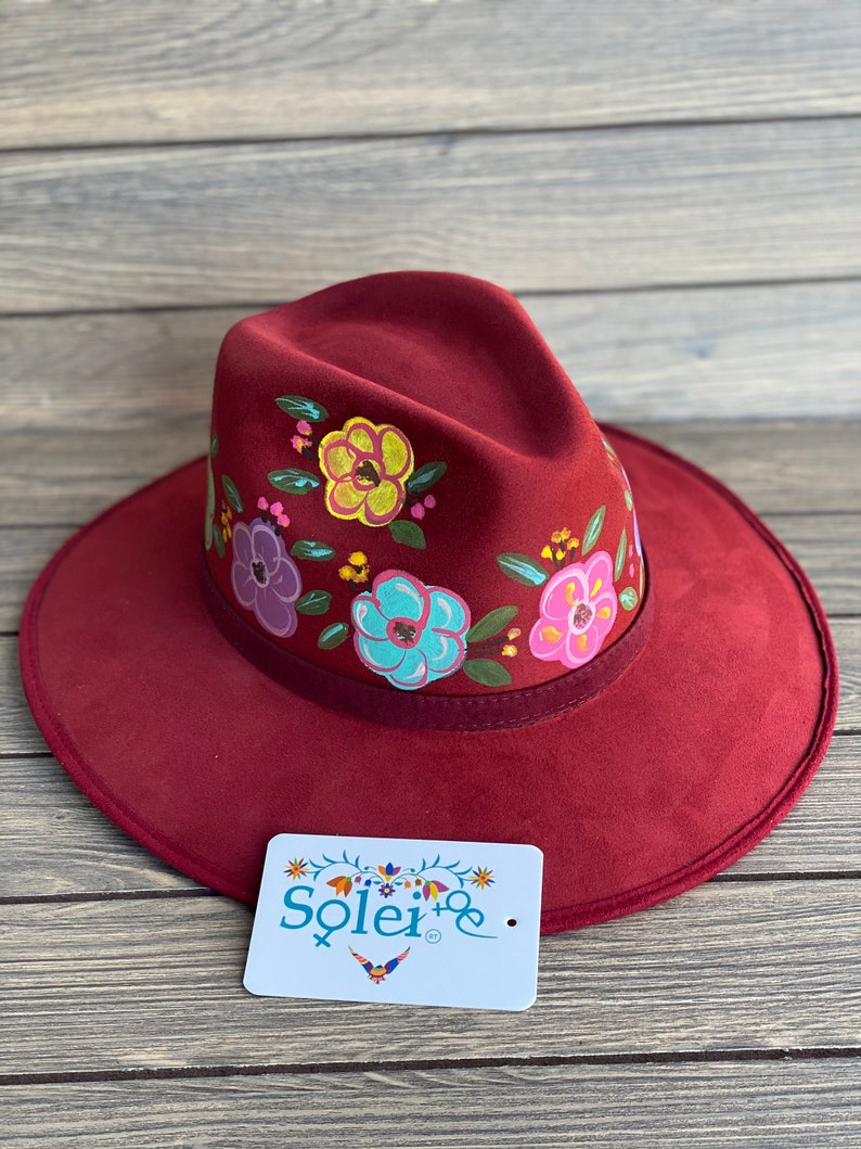 More Colors Available. Mexican Artisanal Hat Traditional Mexican Sombrero Colorful Suede Hat Floral Painted Fedora Hand Painted Fedora