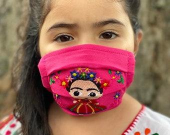 Kids Embroidered Face Masks. Mexican Frida Kahlo Face Mask. Reusable Face Mask. Cute Face Mask. Girl's Face Mask. Kids Washable Mask.