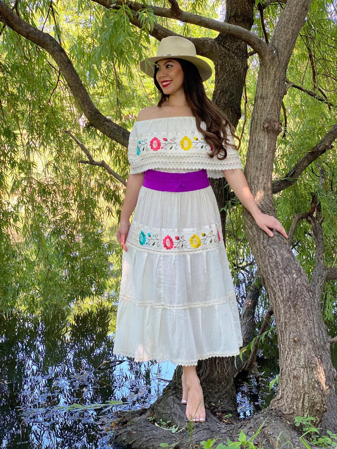 Lace Trim Off the Shoulder Dress. Floral Embroidered Dress.