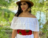 Solid Color Campesino Blouse. Mexican Artisanal Blouse.Handmade Mexican Top. Basic Mexican Blouse. Traditional Mexican Blouse.Mexican Fiesta