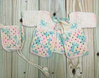 A New Hand Crochet Newborn Baby Girl Dress And Hat Set Random Pastel Colours Baby & Toddler Clothing