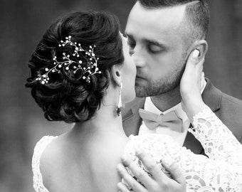 Wedding hair vine, Bridal hair vine, Hair vine pearl, Crystal and Pearl Hair Vine, Bridal Headpiece, Hairpiece silver, Hair Crystal Vine