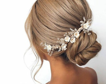 Rustic bridal hair piece B\u00e9r\u00e9nice Pearl bohemian wedding headband Floral bridal hair vine